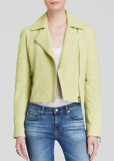 J Brand Leather Jacket - Aiah Lime Sherbert