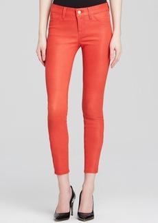 J Brand Leather Pants - Dark Coral Mid-Rise Crop