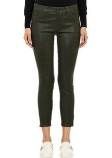 J Brand Leather Skinny Crop Jeans