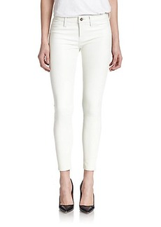 J Brand Leather Zip-Detail Skinny Jeans