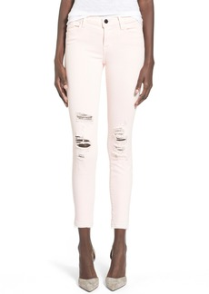 J Brand 'Little Pink Jean' Low Rise Crop Skinny Jeans (Pink Ribbon)