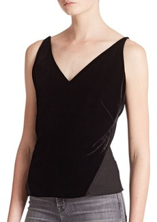 J Brand Lucy Velvet Mixed-Media Camisole