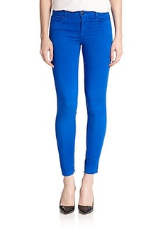 J Brand Luxe Sateen Mid-Rise Skinny Cropped Jeans