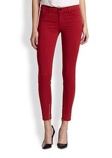 J Brand Luxe Sateen Mid-Rise Crop Skinny Jeans