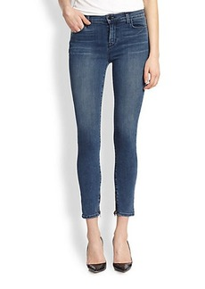 J Brand Maria Ankle-Zip Cropped Skinny Jeans