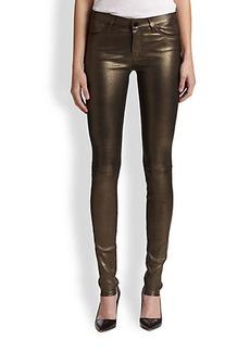 J Brand Metallic Leather Skinny Jeans