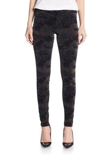 J Brand Mid-Rise Super Skinny Velveteen Camo-Print Jeans