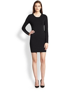 J Brand Noemie Leather-Trimmed Knit Body-Con Dress