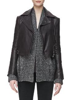J Brand Ready to Wear Aiah Leather Zip-Front Jacket, Kona