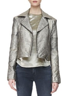 J Brand Ready to Wear Aiah Metallic Leather Moto Jacket