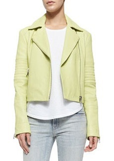 J Brand Ready to Wear Aiah Zip Leather Jacket, Lime Green