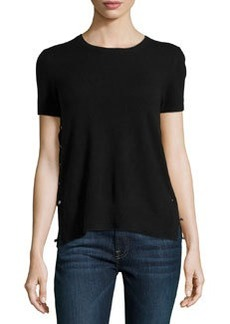 J Brand Ready to Wear Cashmere Side-Button Tee, Black