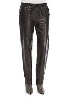 J Brand Ready to Wear Chapman Leather Drawstring-Waist Trousers