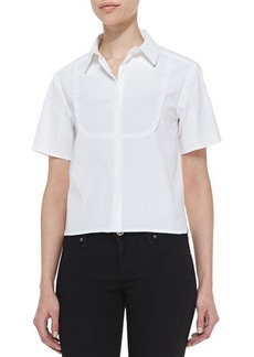 J Brand Ready to Wear Chelsea Short-Sleeve Bib Blouse, White