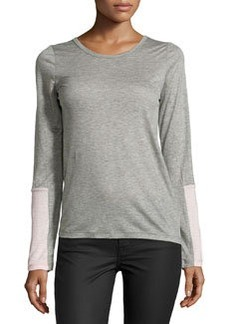J Brand Ready to Wear Colorblock Sleeve Tee, Heather Gray/Pink