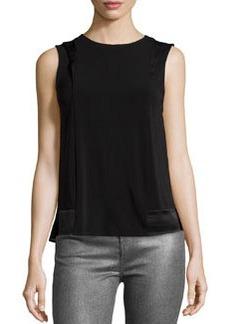J Brand Ready to Wear Contrast-Panel Sleeveless Blouse, Black