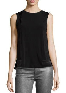 J Brand Ready to Wear Contrast-Panel Sleeveless Blouse, Black