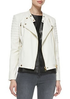 J Brand Ready to Wear Crista Ribbed-Shoulder Leather Jacket