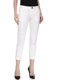 J Brand Ready to Wear Cropped Slim-Fit Chino Trousers, White