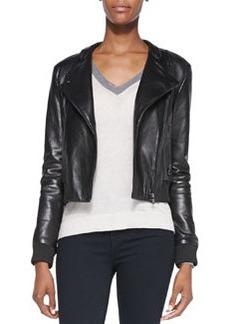 J Brand Ready to Wear Devon Knit-Trim Leather Jacket
