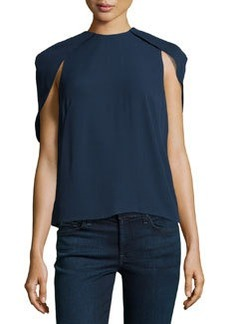 J Brand Ready to Wear Drape-Sleeve Loose Jersey Blouse, Navy Noir