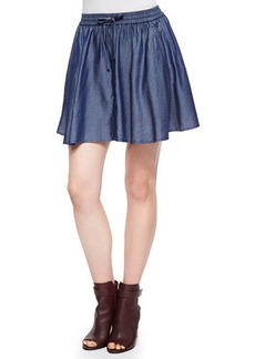 J Brand Ready to Wear Feliz Pleated Chambray Short Skirt
