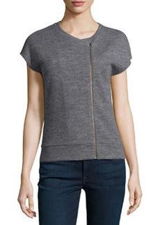 J Brand Ready to Wear Fleece Zip-Detail Sweatshirt Top, Med. Heather Gray