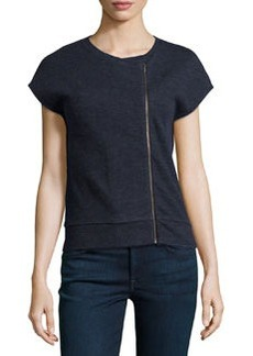 J Brand Ready to Wear Fleece Zip-Detail Sweatshirt Top, Navy Heather