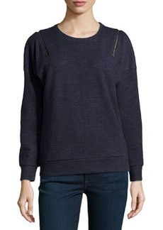 J Brand Ready to Wear Fleece Zip-Shoulder Sweatshirt, Navy Heather