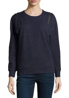 J Brand Ready to Wear Fleece Zip-Shoulder Sweatshirt