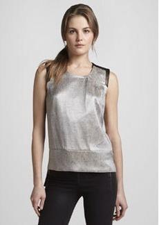 J Brand Ready to Wear Geena Metallic Snake-Print Top