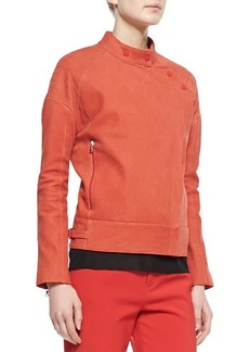 J Brand Ready to Wear Goodall Asymmetric Snap Leather Jacket