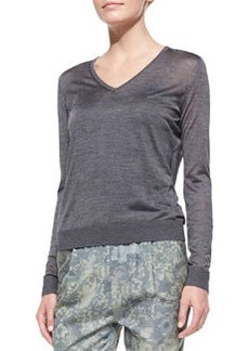 J Brand Ready to Wear Julie Lightweight Knit V-Neck Sweater, Heather Gray