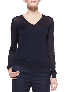 J Brand Ready to Wear Julie Lightweight Knit V-Neck Sweater, Navy