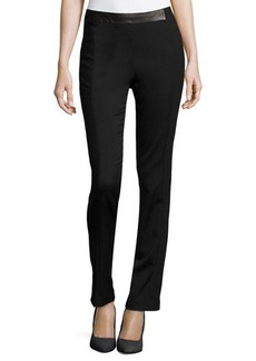 J Brand Ready to Wear Leather-Detail Crepe Pants