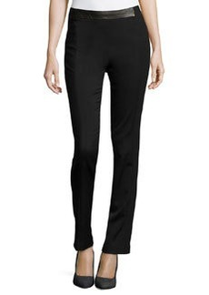 J Brand Ready to Wear Leather-Detail Crepe Pants, Black