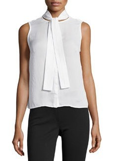 J Brand Ready to Wear May Tie-Neck Sleeveless Blouse, White