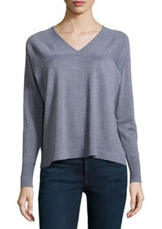 J Brand Ready to Wear Merino Long-Sleeve Sweater, Med. Heather Gray