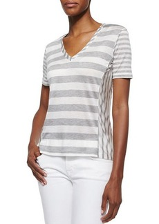 J Brand Ready to Wear Michelle V-Neck Jersey Tee, Heather Gray/White