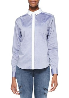 J Brand Ready to Wear Piper Contrast-Trim Cotton Blouse