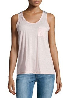 J Brand Ready to Wear Pocket Colorblock Tank, Pink/Heather Gray