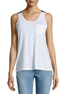 J Brand Ready to Wear Pocket Colorblock Tank, White/Duke
