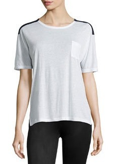 J Brand Ready to Wear Pocket Colorblock Tee, White/Duke
