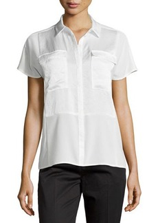 J Brand Ready to Wear Pocket Contrast-Panel Short-Sleeve Blouse