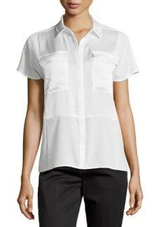 J Brand Ready to Wear Pocket Contrast-Panel Short-Sleeve Blouse, Linen