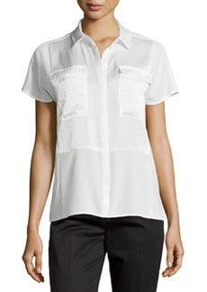 J Brand Ready to Wear Pocket Contrast-Panel Short-Sleeve Blouse, Linen