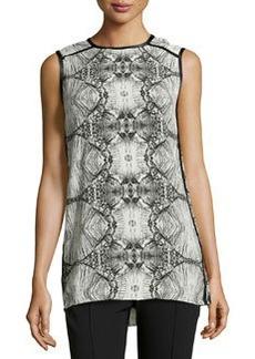 J Brand Ready to Wear Printed Contrast-Trim Jersey Tunic, Glass
