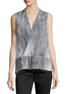 J Brand Ready to Wear Printed Wrap-Front Tank, Linen/Black