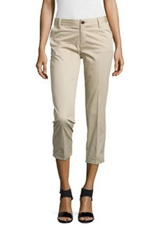 J Brand Ready to Wear Rolled-Cuff Crop Trousers, Khaki