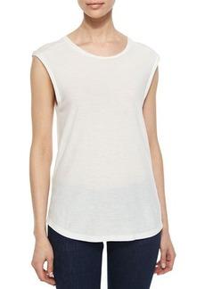 J Brand Ready to Wear Sal Slub-Jersey Sleeveless Tee, Linen